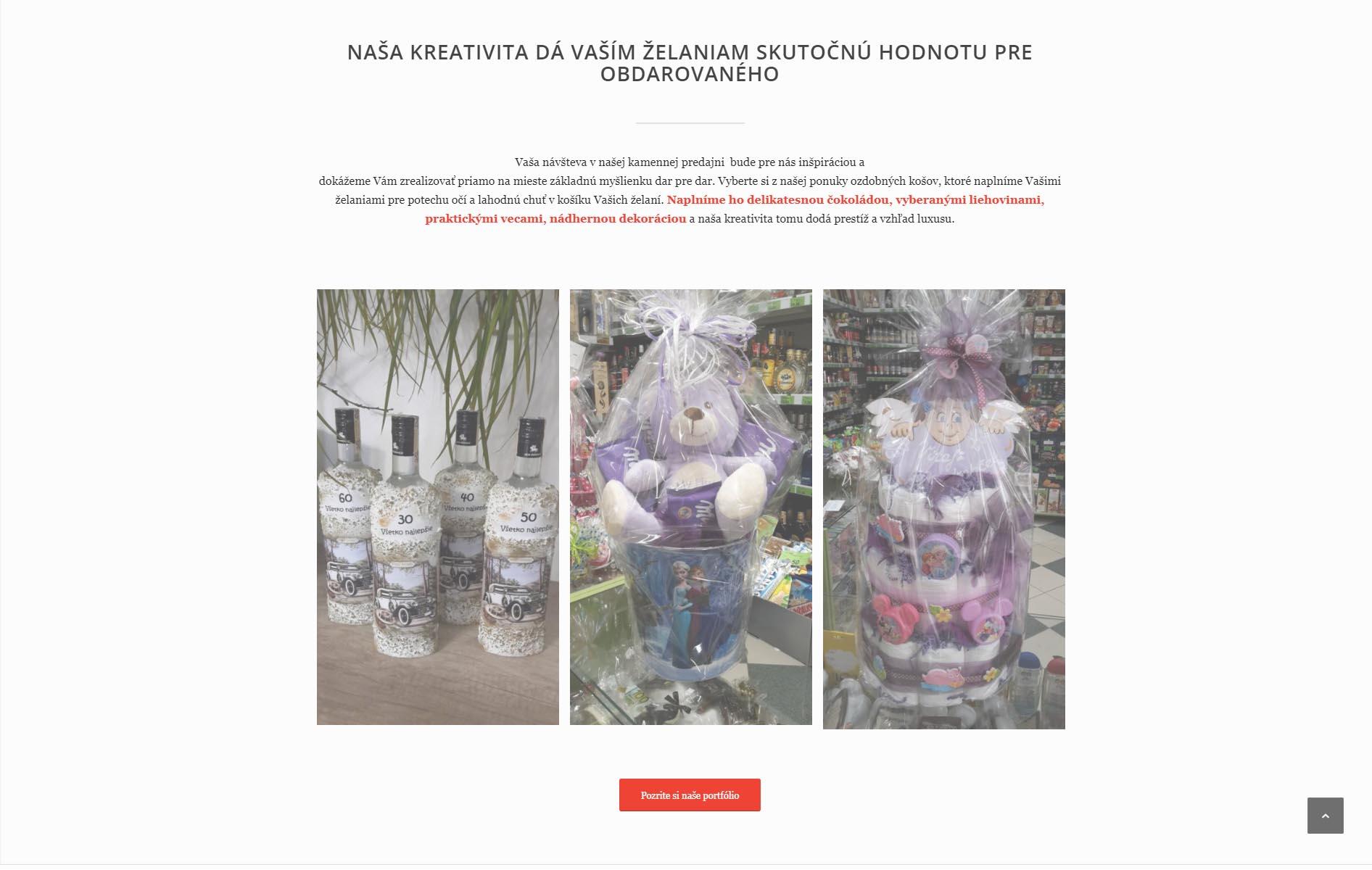 2704c0d4ef02 Darčeková predajňa Prezent Prešov. Web slúži ako prezentačný nástroj pre  darčekový obchod a darčekové koše.